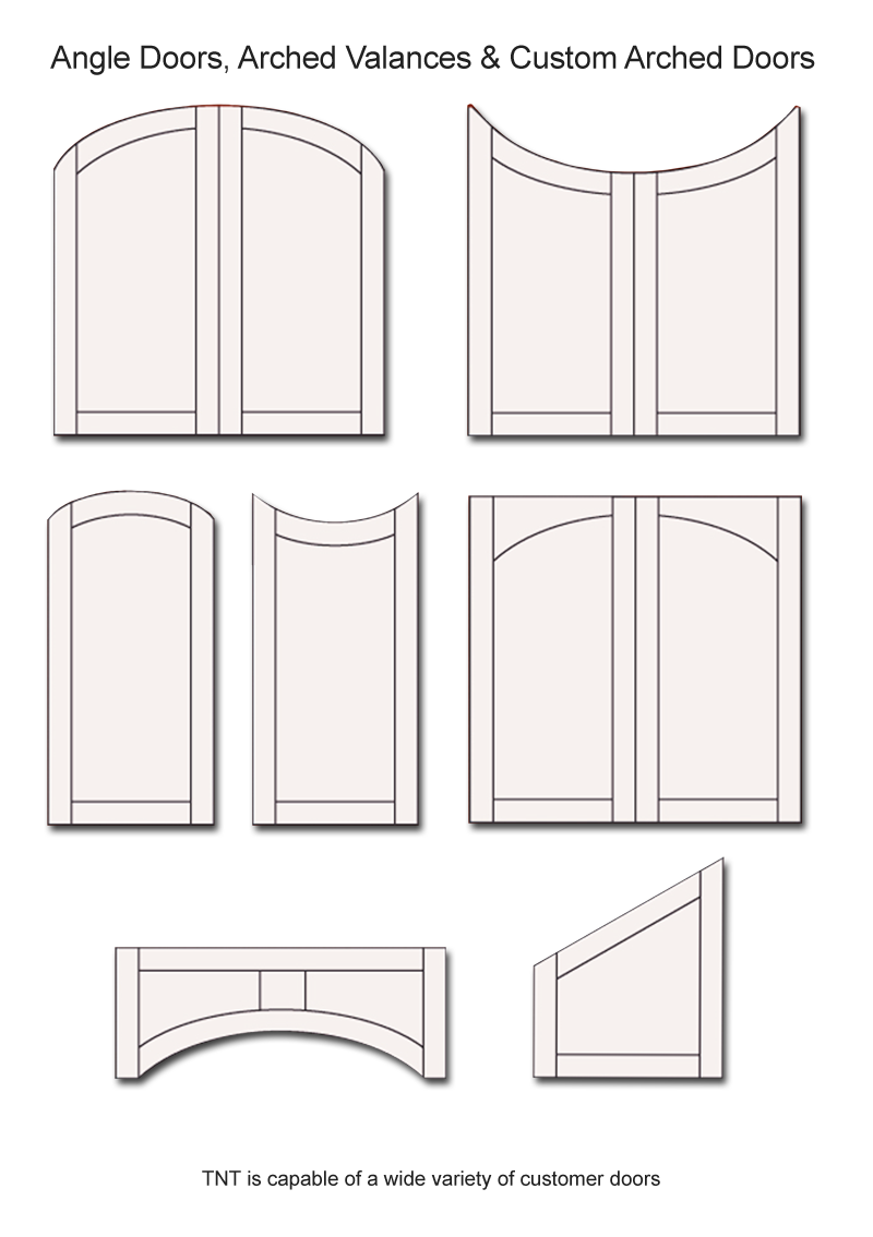 TNT Cabinet Door Details for Angle, Arched Valences & Custom